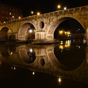 Puente Màgico by Juan Tomas Alvarez Minobis - Buildings & Architecture Bridges & Suspended Structures ( love, rome, architecture, bridge, night shot )
