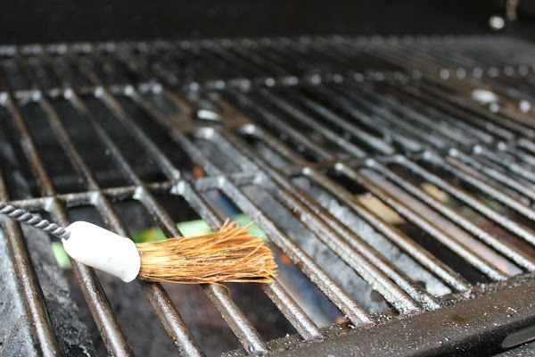 Oiling grill grates.