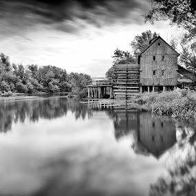Watermill by Zoltan Duray - Landscapes Waterscapes ( water, mono-tone, interior, reflection, building, b&w, park, black and white, jelka, black & white, bw, black and white collection, reflections, forest, house, monotone, landscape, slovakia, watermill, danube, mirror, mill, b and w, river, garyfonglandscapes, holiday photo contest, photocontest, , long, exposure, daytime, edition, challenge )