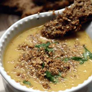 Moroccan Spiced Cauliflower Soup with Chestnut Dukkah