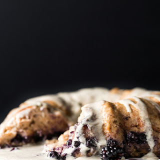 Vegan Blueberry Bread Pudding Breakfast Cake with Vanilla-Hemp Crème Anglaise.