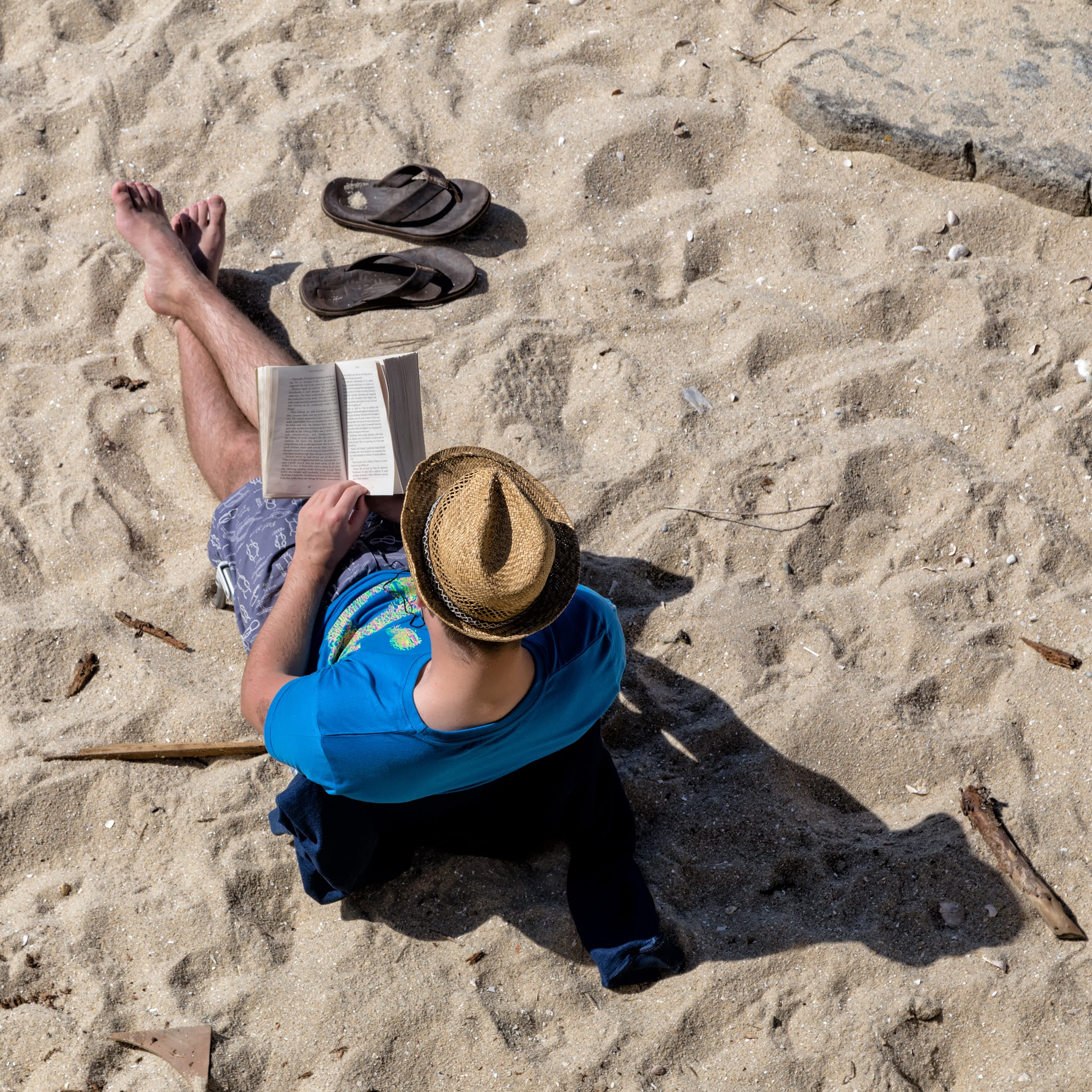Photo: Vacation Goers - #1 - Lonesome Reader  In Carnac, France (July 2015)