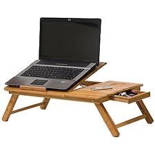 Masuta pliabila laptop din lemn de bambus cu 2 coolere si sertar