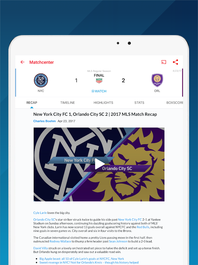 MLS Soccer Scores & Highlights- screenshot