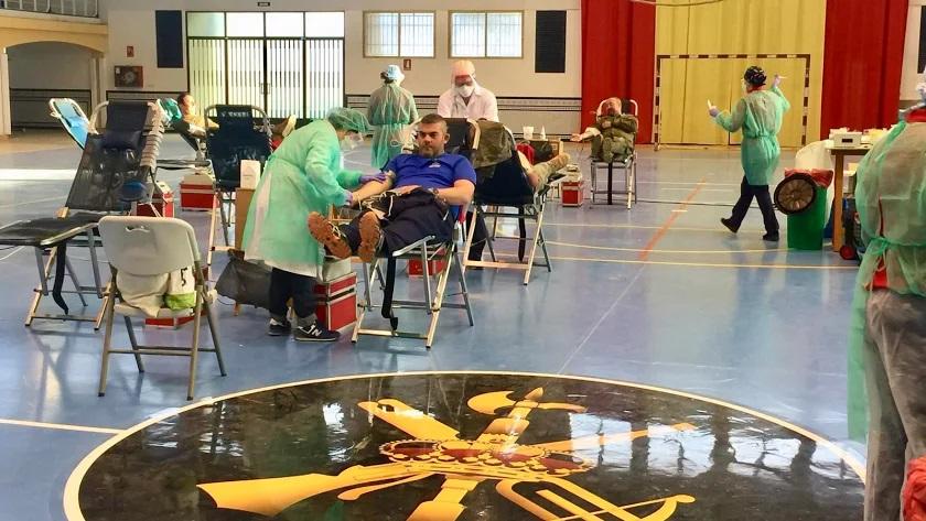 Imagen de una jornada de donación de sangre en el pabellón de la base militar.