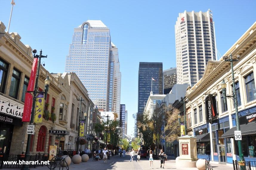 Downtown Calgary on a weekend