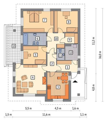 Dom z duszą - wariant I - C277a - Rzut parteru