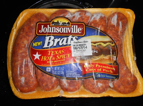 Remove brats from casing and cook while breaking apart.  Allow to cool.