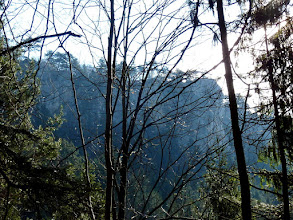 Photo: Der Blick zu den Hirschwände ist leider immer mehr oder weniger verstellet; dazu störendes Gegenlicht.