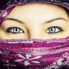 Eyes of the World 4. by Diána Barócsi - People Body Parts ( girl, blue, women, world, portrait, eyes )