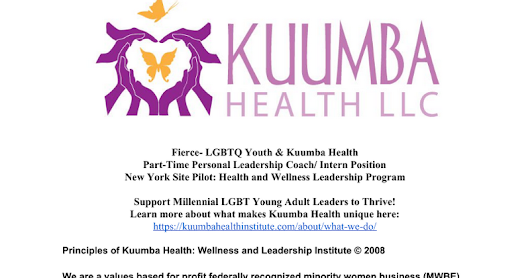 Job Description- Fierce- LGBTQ Youth & Kuumba Health Part-Time Personal Leadership Coach/ Intern Position New York Site Pilot: Health and Wellness Leadership Program