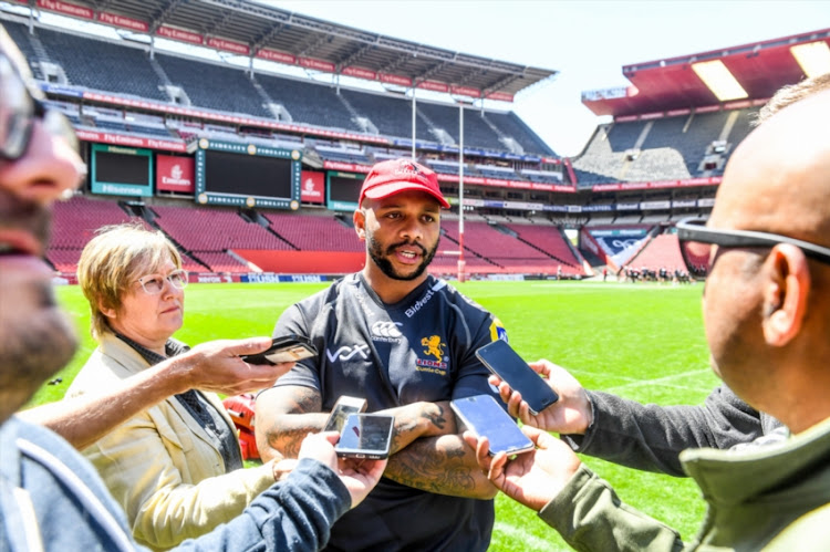 Lionel Mapoe of the Lions during the Emirates Lions Mixed Zone at Emirates Airline Park on September 11, 2018 in Johannesburg, South Africa.