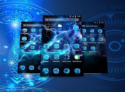 Starlight Galaxy Ice Wolf APUS Launcher Theme Screenshot Thumbnail