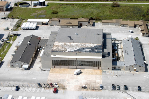 An aerial view of the damage to Hangar S at Cape Canaveral Air Force Station by Hurricane Jeanne.