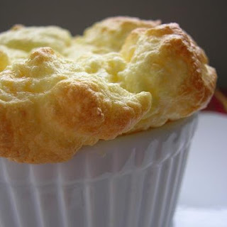 Six Cheese Souffle with Cherry Black Pepper Sauce
