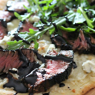 Grilled Steak & Gorgonzola Pizza With Balsamic Reduction.