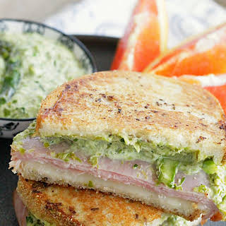 Grilled Ham and Cheese Sandwich with Asparagus Mayonnaise.