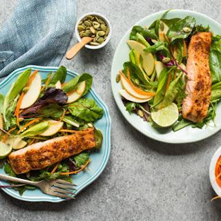 Cajun-Spiced Baked Salmon with Avocado Lime Sauce.