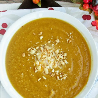 Curried Sweet Potato, Apple & Peanut Soup