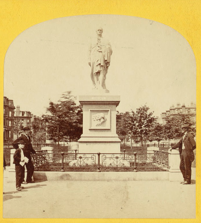 1850–1920 photo of the statue of Alexander Hamilton. Photo: Boston Public Library.