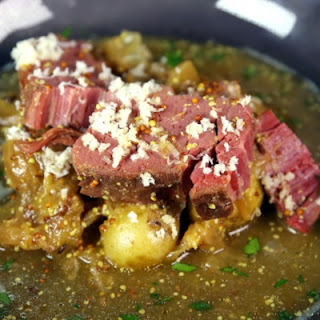 Braised Corned Beef with Mustardy Cabbage and Potatoes
