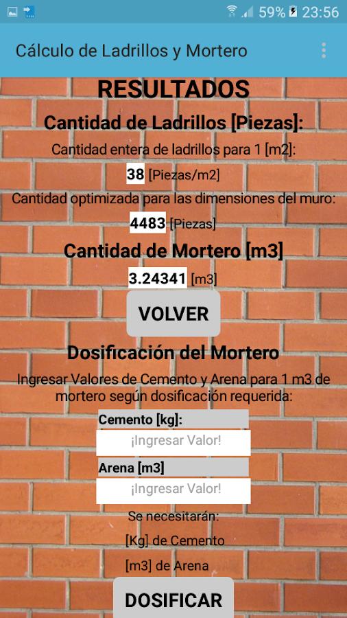 Calcular ladrillos y mortero muro aplicaciones de for Mortero para ladrillos