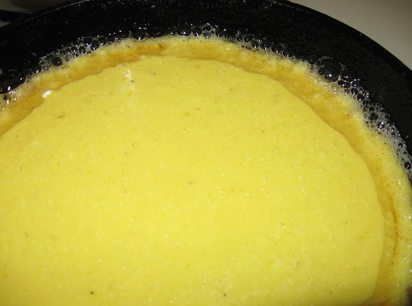 Pour into hot skillet. Put into oven and bake 18-20 minutes @ 350 degrees....