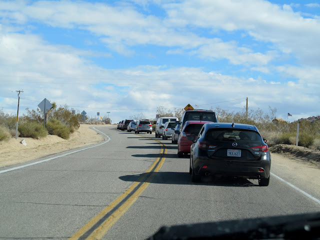 Cars backed up at the entrance to Joshua Tree