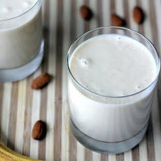 Vegan Almond Butter Banana Oatmeal Smoothie.