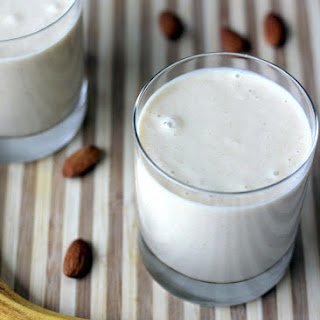 Vegan Almond Butter Banana Oatmeal Smoothie.