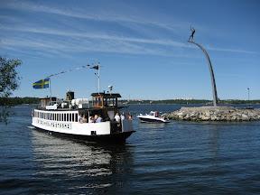 """Ferry (Fj�derholmslinjen: """"Stockholms Str�m 2"""") coming into the harbour at Nacka Strand, Nacka, Stockholm"""