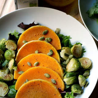 Roasted Butternut Squash and Brussels Sprouts Salad with Maple Vinaigrette