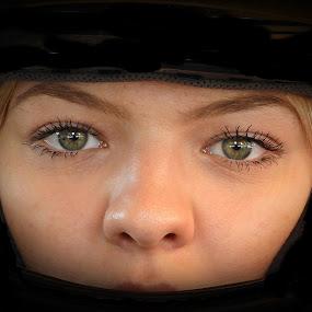 look at my eyes by Bojan Dobrovodski - People Body Parts ( look at my eyea biker girk )
