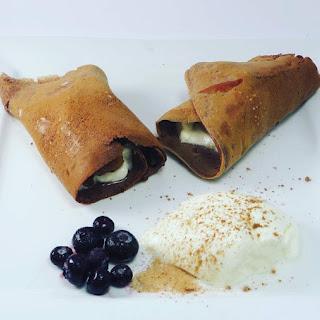 Keto Chocolate Crepes with Yogurt And Blueberries.