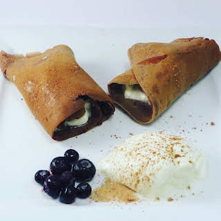 Keto Chocolate Crepes with Yogurt And Blueberries.