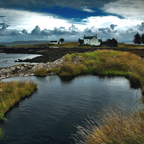 Isle of Mull, Scotland by Peter Greenhalgh - Landscapes Travel ( water, clouds, scotland, hills, uk, sea, old ferry house, grasspoint peninsula, isle of mull, film location, cottage, when eight bells toll, drover's cottage )