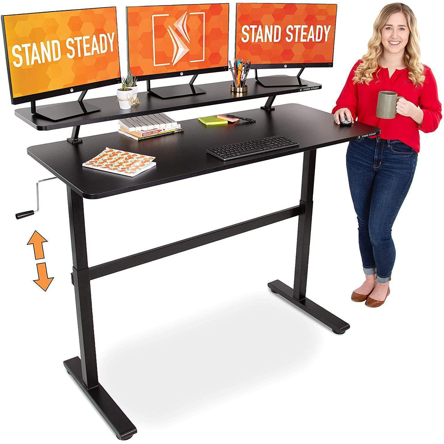 Stand Steady Tranzendesk 55 Inch Standing Desk is an extra-large desk for those who need spacious work desk to place their dual monitors, keyboards, mice, files, writing pad, diary and lot more
