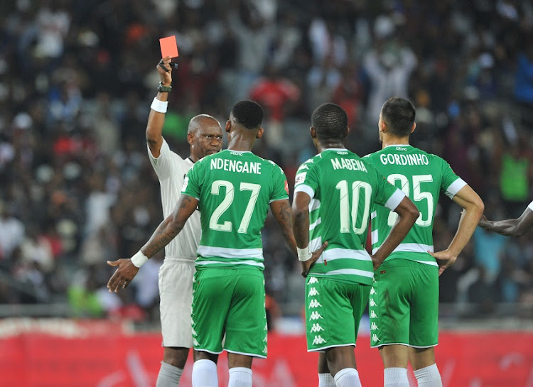 Lorenzo Gordinho of Bloemfontein Celtic being sent off during the Absa Premiership match between Orlando Pirates and Bloemfontein Celtic on 04 April 2018 at Orlando Stadium.