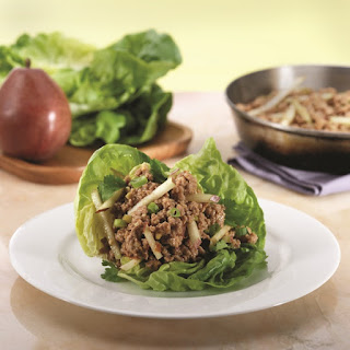 Asian Chicken Lettuce Wraps with Crunchy Pears