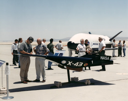 Aerospace industry representatives view actual versions of X-Planes at Dryden Flight Research Center Edwards California.