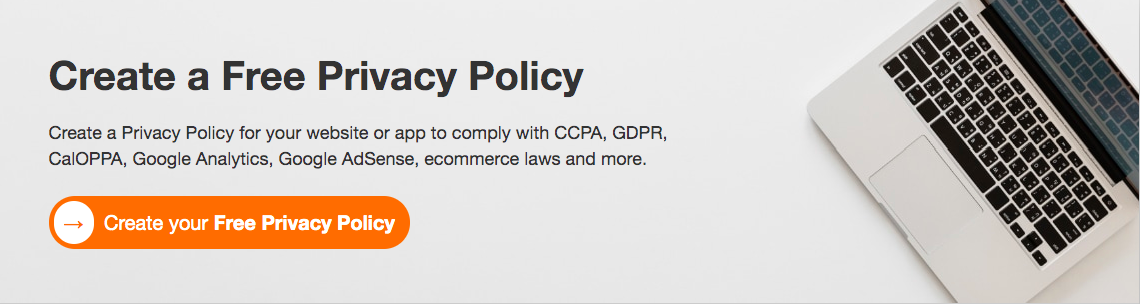 FreePrivacyPolicy.com Welcoming page