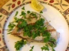 Remove to a warm plate, sprinkle with salt, fresh parsley and garnish with a...