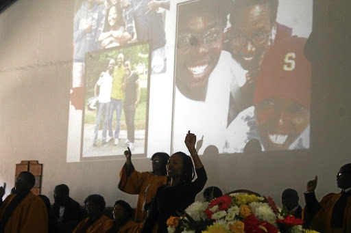 Family members of the late Nkosinathi Nkomo, who allegedly fell to his death, testify about his qualities during his funeral at the Seventh Day Adventist Church in Orlando East, Soweto. / KABELO MOKOENA