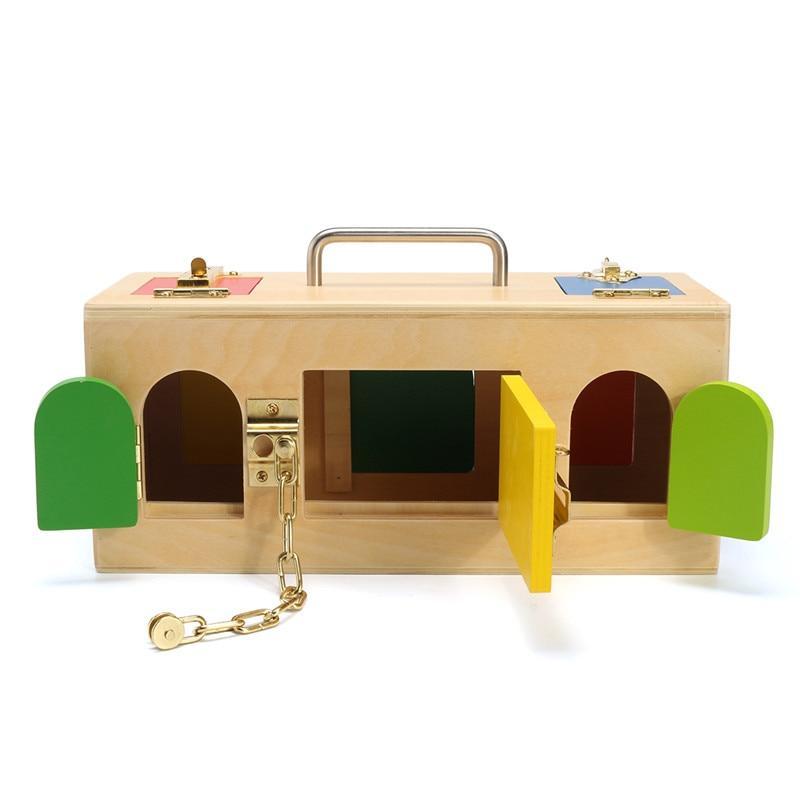 boite à serrure ouvert fermer jeu bois montessori