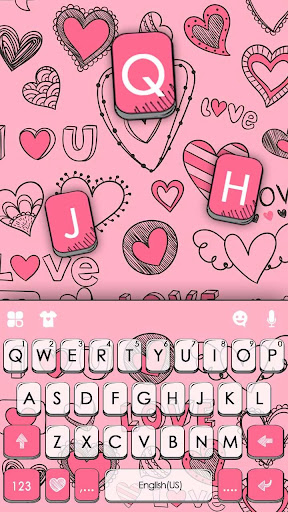 Doodle Pink Love Keyboard Theme 1.0 screenshots 5