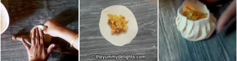 Shaping the veg momo dumpling