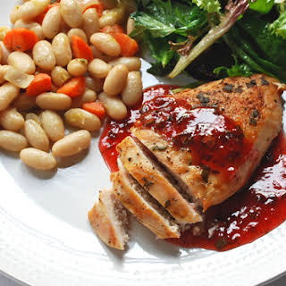 Grilled Chicken with Strawberry Balsamic Vinegar Sauce.