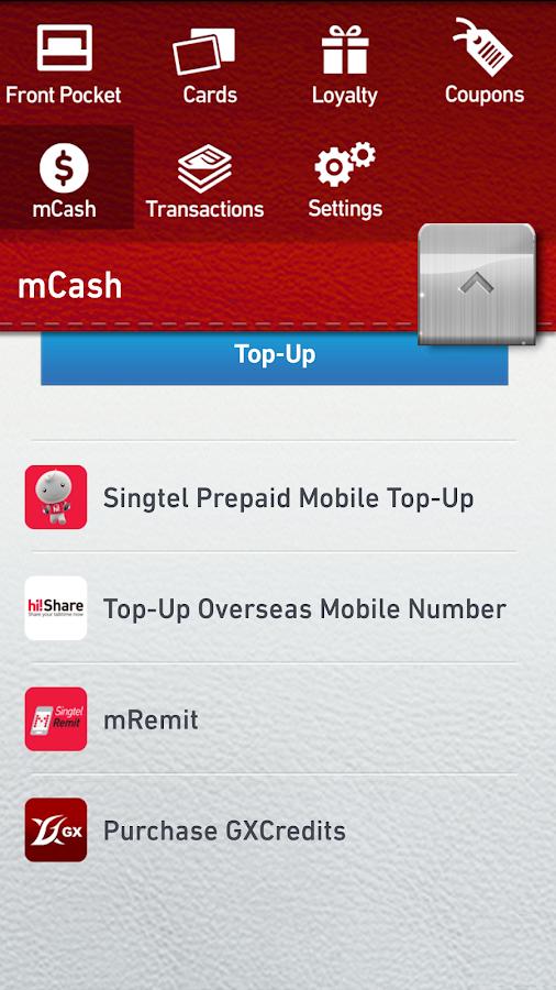 Singtel mWallet - screenshot