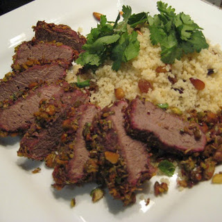 Pistachio Crusted Lamb With Fruit And Nut Cous Cous