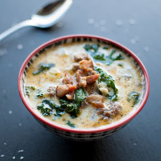 Sausage, Bacon, Potato, and Kale Soup